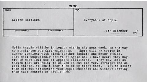George Harrison invita a los Hell's Angels a quedarse en Apple