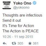"""Yoko Ono busca el record del """"más grande símbolo de la paz humano"""""""