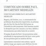 Cancelan el concierto de Paul McCartney en Medellín