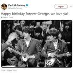 Paul McCartney saluda a George Harrison por su cumpleaños